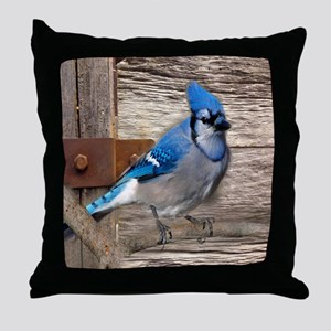 rustic barn wood blue jay Throw Pillow